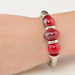Red & Silver Wrapped Cuff Bracelet